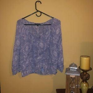 Blue&White Floral Pattern Long Sleeve
